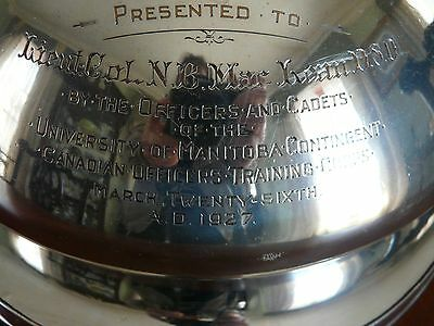 Colonel MacLeans 1810 OSP Silver Meat Dome dedicated by Military Cadets 1927 CAN
