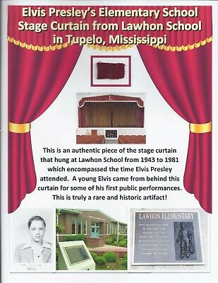 Elvis Presley Personal Owned Used Lawhon School Stage Curtain Tupelo Birthplace