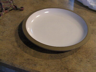 Heath California pottery Dinner Plate..  Opaque White with a Brown Rim