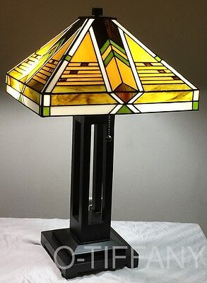 """Tiffany Style Stained Glass Mission Lamp """"Taliesin"""" - FREE SHIP IN USA"""