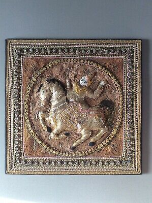 Burmese Thai Kalaga Myanmar richly embroidered and decorated panel on board