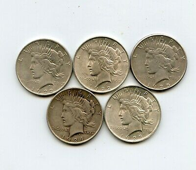 Lot of 5 Peace Silver Dollars (1922, 1922-D, 1923, 1924, 1925-S)