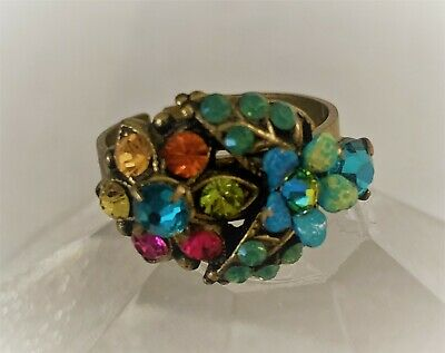 Adjustable Multicolored Stone Ring with Antique Brass Setting