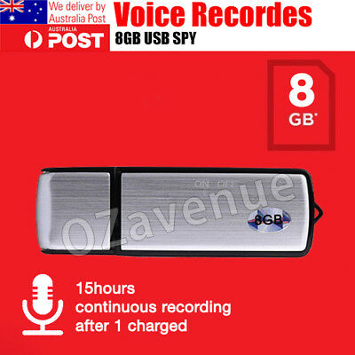 8GB Digital USB Dictaphone Spy Voice Recorder Listening Device Memory Stick