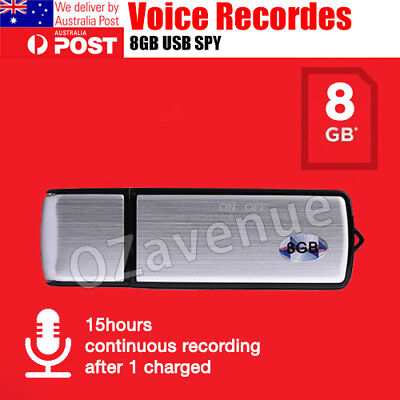 8GB Digital USB Dictaphone Voice Recorder Listening Device Memory Stick