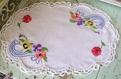 Vintage Large Table Centre Doily Exquisite Embroidery Pansies Shabby Palette