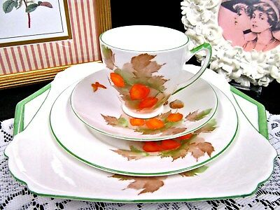 SHELLEY tea cup and saucer trio & cake plate butterfly floral teacup set