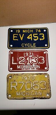 Lot Of (3) Vintage Motorcycle License Plates. Michigan 1970 1971 1974