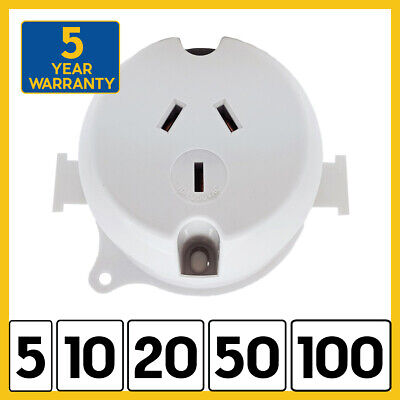 NEW Surface Socket Outlet Plug Base 250VAC 10 Amp for LED Downlight - 3 Pin