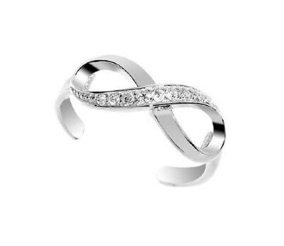 10k Blanc Solide or Zircone Infini Orteil Bague Body Jewelry Réglable