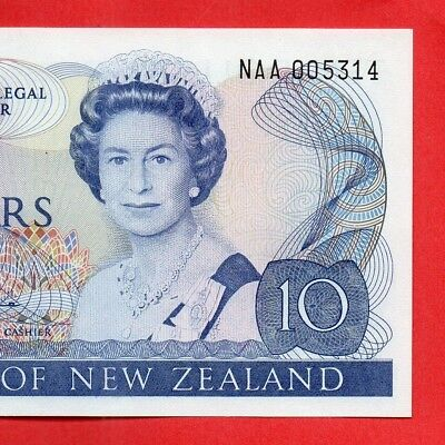 New Zealand 1981- 85 H.R.Hardie Paper $10 first Signature Prefix Banknote - UNC