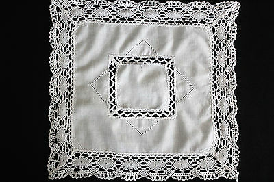 Vintage small square white linen cloth with crochet centre and edge.