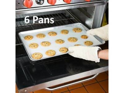 "(6-Pack) Full Size 18"" x 26"" Wire In Rim Aluminum Baking Bun Pans / Sheet Pans"
