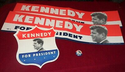 Lot of 4 JFK John F Kennedy Campaign Items, Bumper Stickers, Paper Shield & Pin.
