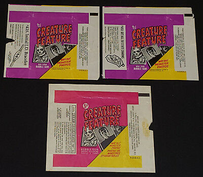 1973 - O-Pee-Chee (1) + Topps (2) - Creature Feature - Wrappers - Original
