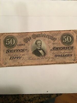 Confederate States of America $50 Fifty Dollar Bill Civil War Currency Note 1864