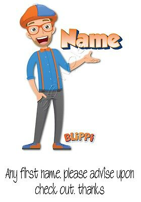 Iron on Transfer PERSONALISED BLIPPI WITH ANY FIRST NAME 15x11cm