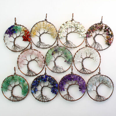 Natural Amethyst Lapis Lazuli Opal Chips Gemstones Tree of Life Round Pendant