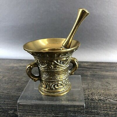 """VINTAGE HEAVY BRASS 3"""" APOTHECARY MORTAR AND PESTLE Pharmacy"""