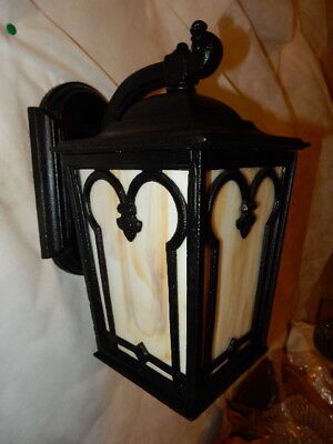Large Arts & Crafts Cast Iron Porch Light Sconce with Carmel Glass