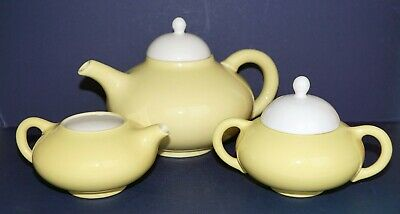 Rare~3 PC~Mid Century~El Patio~Yellow Arcadia~ Gladding Mc Bean~Tea Set