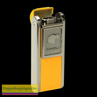 Cohiba Yellow Metal Cigar Lighter 2 Torch Jet Flame With Lateral Punch