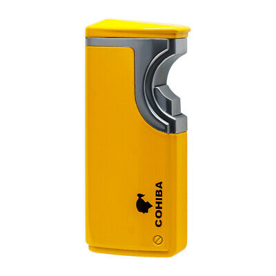 COHIBA Yellow Finish Touch Induction Cigar Lighter 3 Torch Jet Flame With Punch