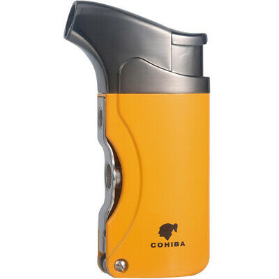 COHIBA Yellow Metal Cigar Lighter 1 Torch Jet Flame With 2 Punchs