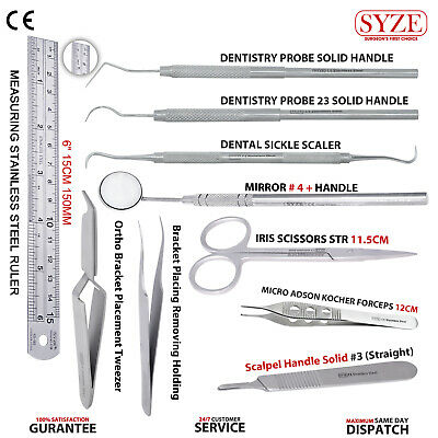 Dentistry Probes Bracket Placement Tweezers Surgical Dissection Instruments Kit