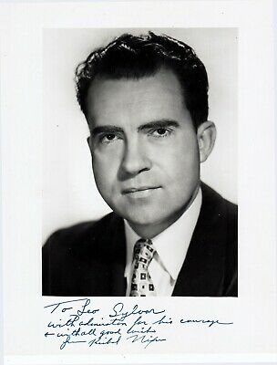 RICHARD NIXON. 37th US President, resigned. Signed Photograph as Vice President