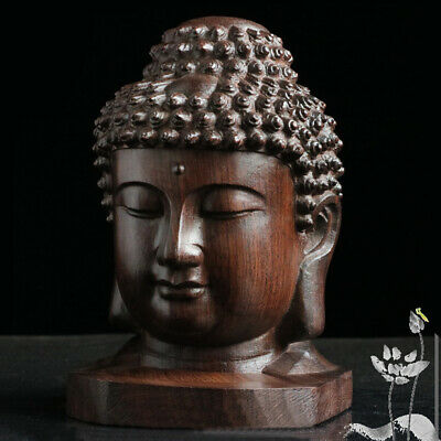 Decoration Buddha Statue Tathagata Sculpture Sakyamuni Head Redwood Crafts