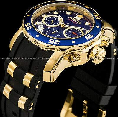 Invicta 48mm Mens Pro Diver Scuba Chronograph Blue Dial Gold Plated SS PU Watch