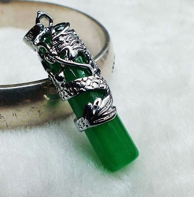 beautiful Natural jade carved inlaid dragon pendant