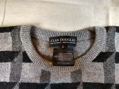 Clan Douglas of Scotland 100% Cashmere Sweater Geometric Pure Scottish Cashmere