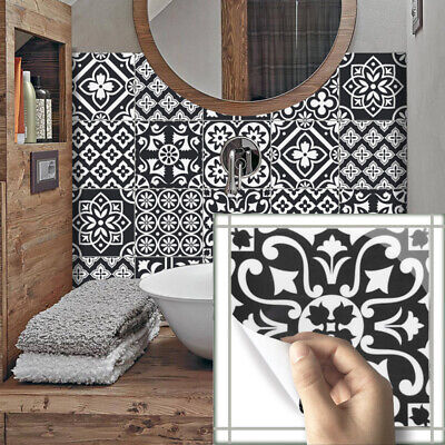 10pcs White Black Self-adhesive Bathroom Kitchen Wall Stair Floor Tile Sticker