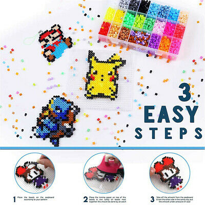 6800x 5mm Perler Hama Beads&Mini Ironing Set Refill Pack&Pegboards Stater Crafts