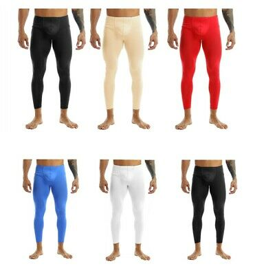 Mens Smooth Long Johns Bulge Pouch Pants Leggings Lounge Thermal Underwear M-XL