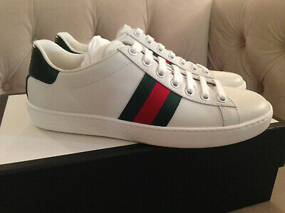 bfd6f61c4f5 New Gucci Women New Ace Web Low Top Leather Sneakers White Sz 35.5 or 36.5  NIB