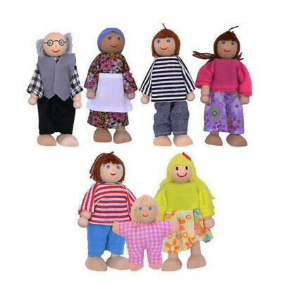Wooden Furniture Doll House Family Miniature 7 People Kid's Role Play Toy Gift