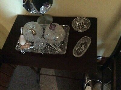 Antique Quality Vintage Beautiful Art Deco Glass, Crystal, Dressing Table SET