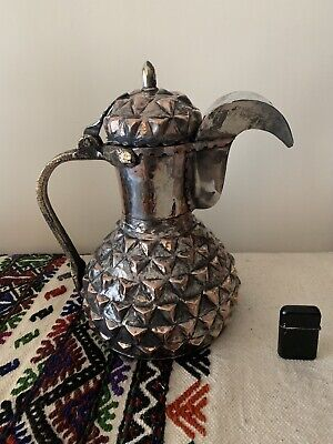 Ottoman Islamic  Bursa Copper Coffee Pot special hammered. Antique XL