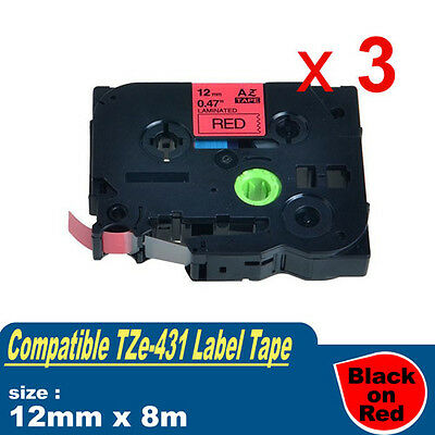 3x Compatible Brother TZE-431 P-Touch Label Tape TZ-431 12mm x 8m Black on Red
