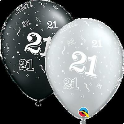 Qualatex 21st Birthday Helium Balloons Age 21 Black Silver Party Decorations