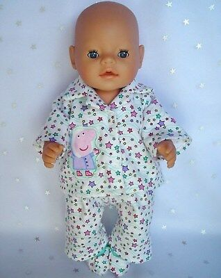 "Dolls clothes for 17"" Baby Born doll~PEPPA PIG~ STARS WINTER PYJAMAS~BED SOCKS"