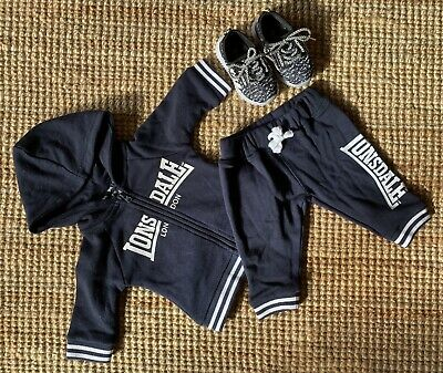 Baby Infant Child Kids Lonsdale Tracksuit And Light Up Fake Yeazy Sneakers