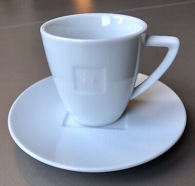 6 'Nespresso' Cappuccino Coffee Cups And Saucers In White Porcelain