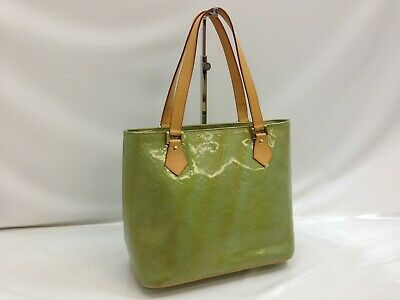Auth Louis Vuitton Vernis Houston Hand Tote Bag Green/Blue 9B080450M