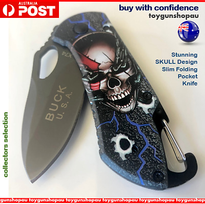 Best Folding Knife hunting SLIM pocket knife Unique SKULL Design camping knife