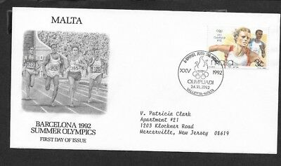 Malta 1992 First Day Cover Summer Olympics Barcelona Runners