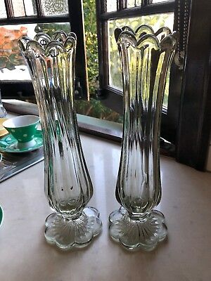 Pair Antique Glass Vases Approx 29cm High. Gorgeous Flower Base. PICK UP ONLY.